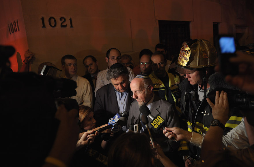 Rabbi Haskel Lookstein vowed to rebuild the night a four-alarm fire on July 11, 2011 at New York's Kehilath Jeshurun caused the synagogue's roof to collapse and severely damaged the building's top floors. (Michael Loccisano/Getty Images)
