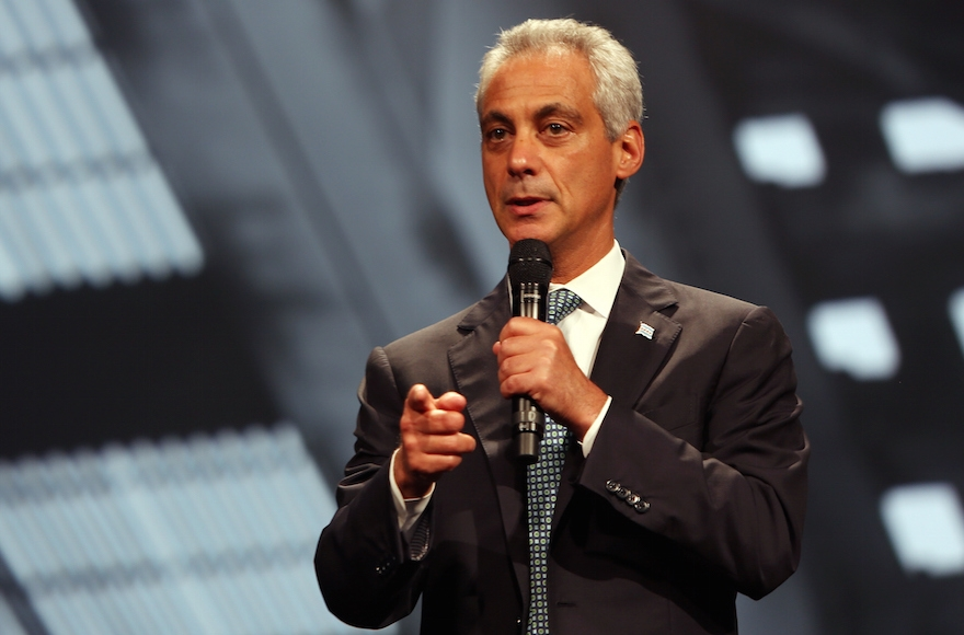 Chicago Mayor Rahm Emanuel attending the Inspirational Forum during Opportunity Fair and Forum in Chicago, Illinois on August 13, 2015. (Tasos Katopodis/Getty Images for 100,000 Opportunities Initiative)