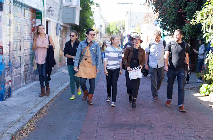 Shlain near her studio in San Francisco with oone of her co-writers, Sawyer Steele, far right. (Kristin Cofer)