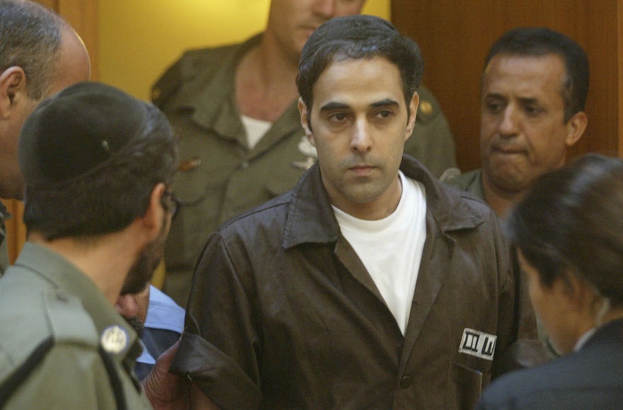 Israeli Yigal Amir, former Prime Minister Yitzhak Rabin's assassin, appears before the Israeli Supreme Court in Jerusalem on September 8, 2004. Amir has allegedly received funds from Hanenu. (Uriel Sinai/Getty Images)