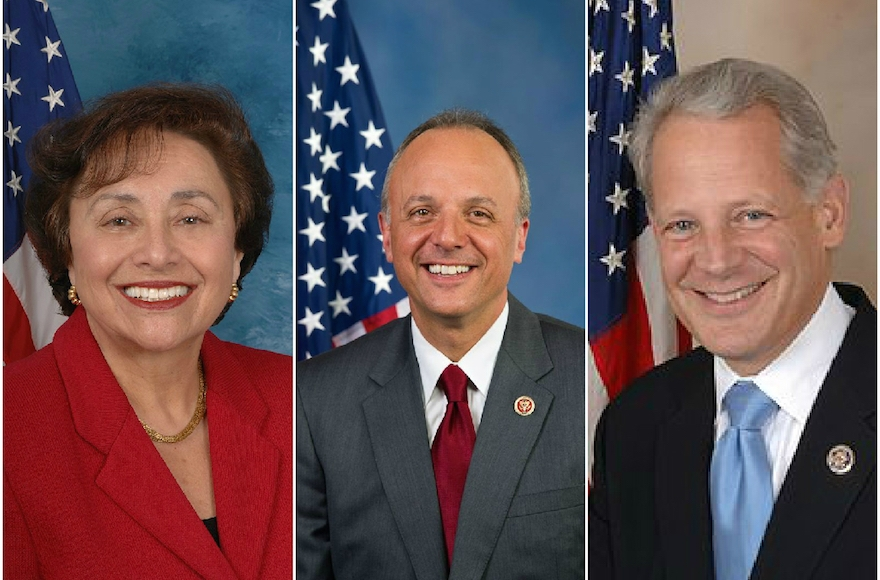 From left to right: Democratic Reps. Nita Lowey (NY), Ted Deutch (FL) and Steve Israel (NY) all came out against the Iran deal. (Wikimedia Commons)