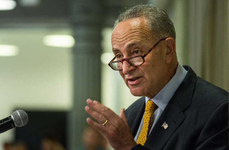 Sen. Charles Schumer (D-N.Y.) was the subject of a cartoon on the DailyKos website that some saw as questioning his loyalty to the United States. (Andrew Burton/Getty Images)