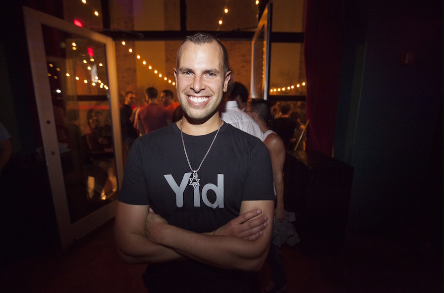 "Jayson Littman, the founder of gay Jewish ""social start-up"" Hebro, at the ""High Homodays"" party in 2014. (Santiago Felipe)"