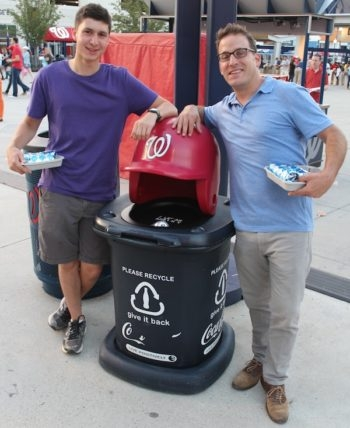 "Jewish educator Yoni Kaiser-Blueth (right, with incoming George Washington University freshman Yonah Bromberg Gaber a recent Washington Nationals game), said that Sandy Koufax's decision  ""resonates especially today."" (Hillel Kuttler)"
