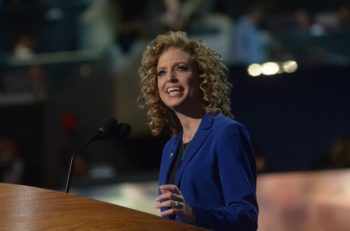 Rep. Debbie Wasserman-Schultz, chair of the Democratic National Committee, speaking to delegates of the party's convention in Charlotte, N.C.,on its final night, Sept. 6, 2012.  (DNC via Flickr )