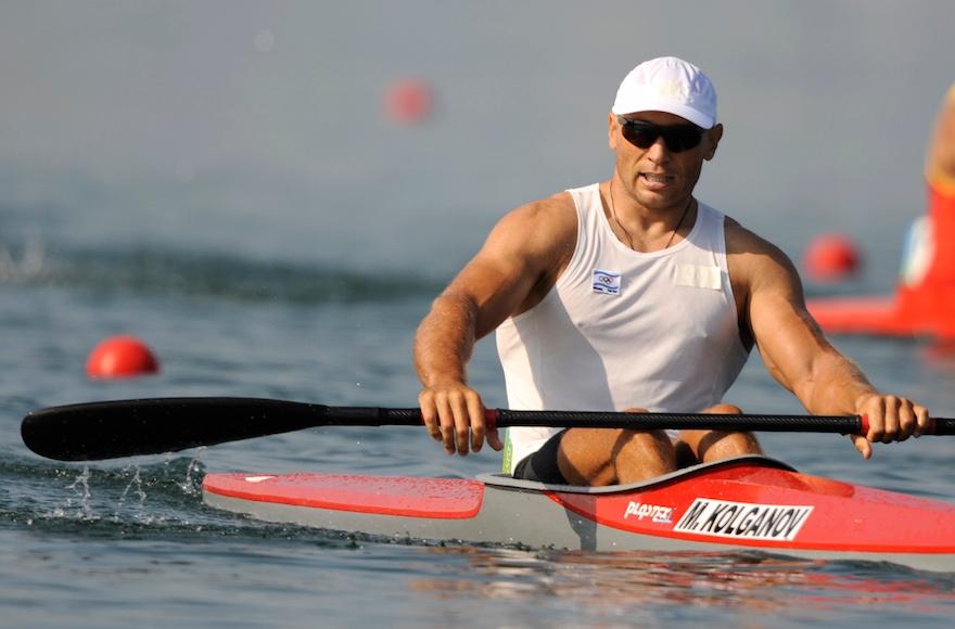 Israel's Michael Kolganov relaxing after winning a heat at the Beijing 2008 Olympics, Aug. 19, 2008. (Kevork Djansezian/AP Images)