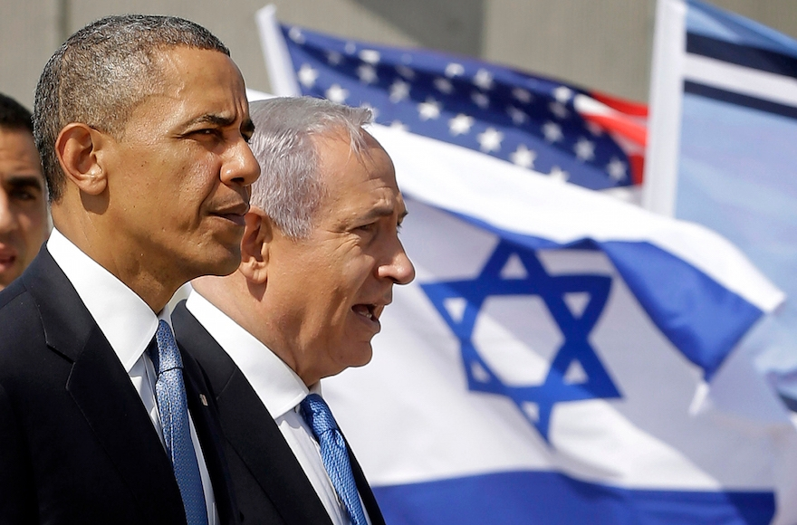 U.S. President Barack Obama and Israeli Prime Minister Benjamin Netanyahu touring the Iron Dome Battery defense system, at the Ben Gurion International Airport in Tel Aviv, Israel, March 20, 2013. (Pablo Martinez Monsivais/AP Images)