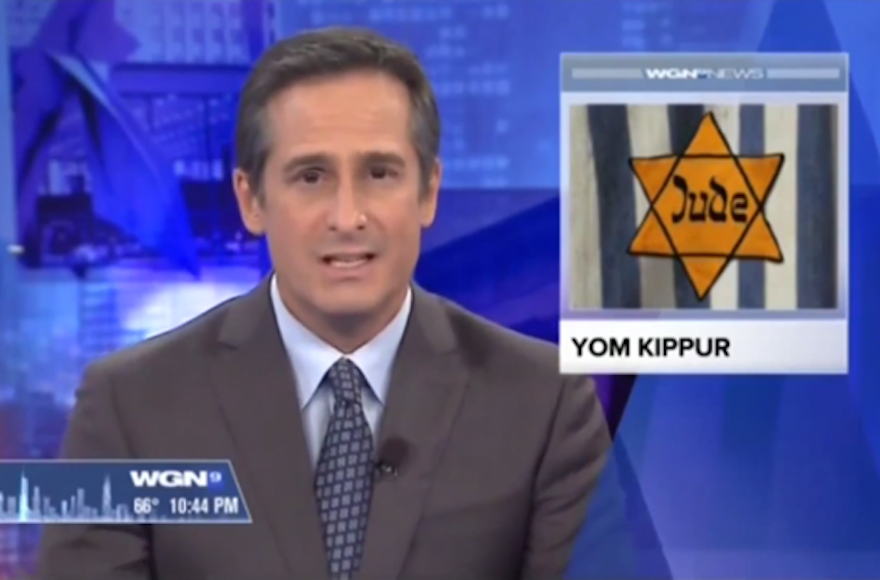 A WGN-TV anchor reporting the start of Yom Kippur in Chicago, Illinois, Sept. 22, 2015.