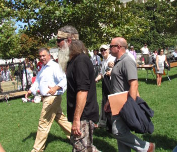 Duck Dynasty's Phil Robertson, center, attending the Tea Party rally against the Iran deal on Sept. 9, 2015. (Ron Kampeas)