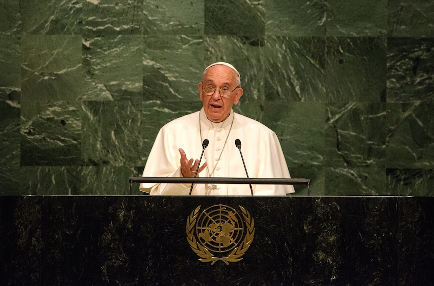 Pope Francis delivering an address to the General Assembly of the United Nations on September 25, 2015, in New York City. (Bryan Thomas/Getty Images)