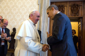 President Obama talking with Pope Francis at the Vatican on March 27, 2014. (Wikimedia Commons)
