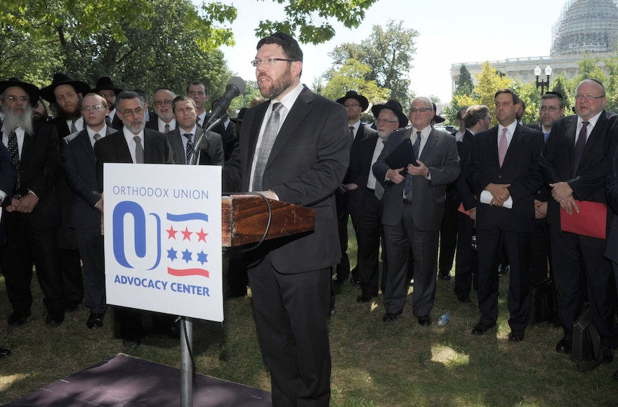 Orthodox Rabbi Marc Penner speaking at the Tea Party rally against the Iran deal on Sept. 9, 2015. (Ron Kampeas)