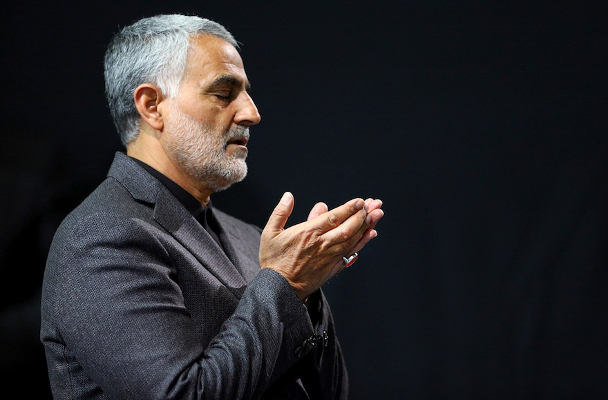 Commander of Iran's Quds Force, Qassem Soleimani, prays in a religious ceremony at a mosque in the residence of Supreme Leader Ayatollah Ali Khamenei, in Tehran, Iran, March 27, 2015. (Office of the Iranian Supreme Leader/AP Images)