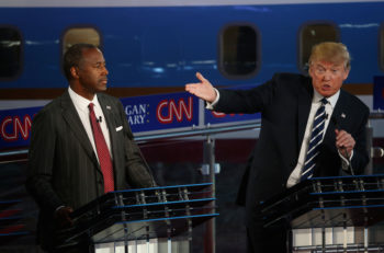 Donald Trump and Ben Carson at the second Republican presidential debate at the Reagan Library in Simi Valley, California on Sept. 16, 2015. (Justin Sullivan/Getty Images)