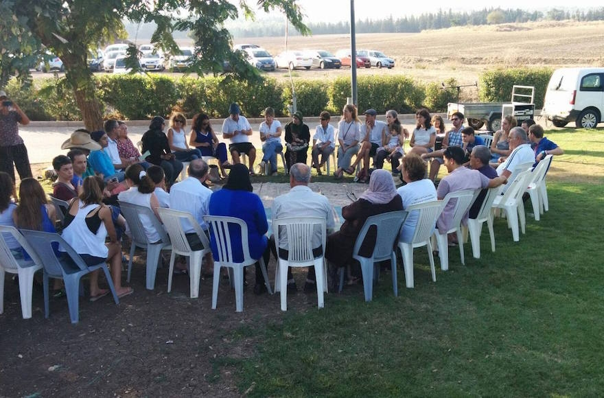 "Givat Haviva arranged discussions between Arabs and Jews after the ""human chain"" event. (Facebook)"
