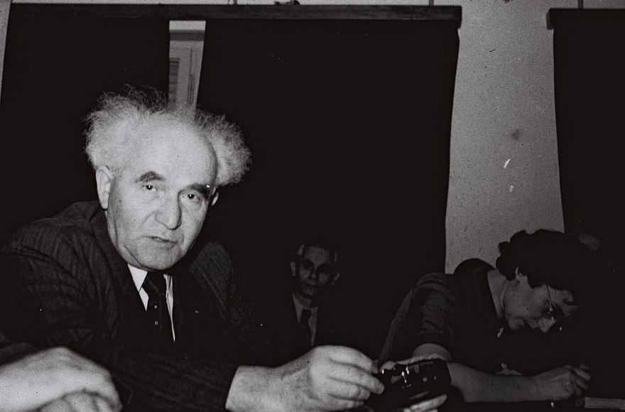 David Ben-Gurion at a conference in Tel Aviv on Dec. 15, 1947. (GPO)