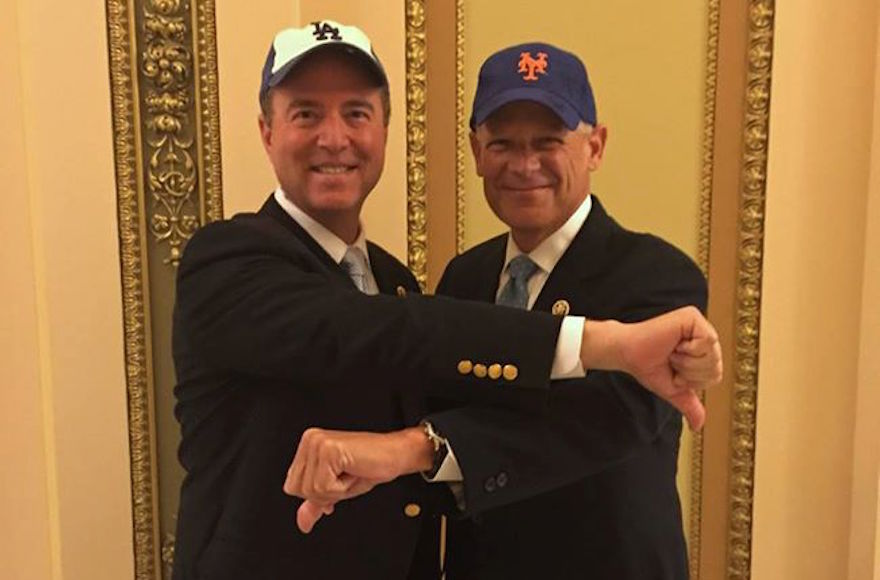 Rep. Adam Schiff, D-Calif, left, and Rep. Steve Israel, D-N.Y., right, posing in Congress to announce their bet on the outcome of the Mets-Dodgers division series, Oct. 1,  2015. (Adam Schiff's Facebook page)