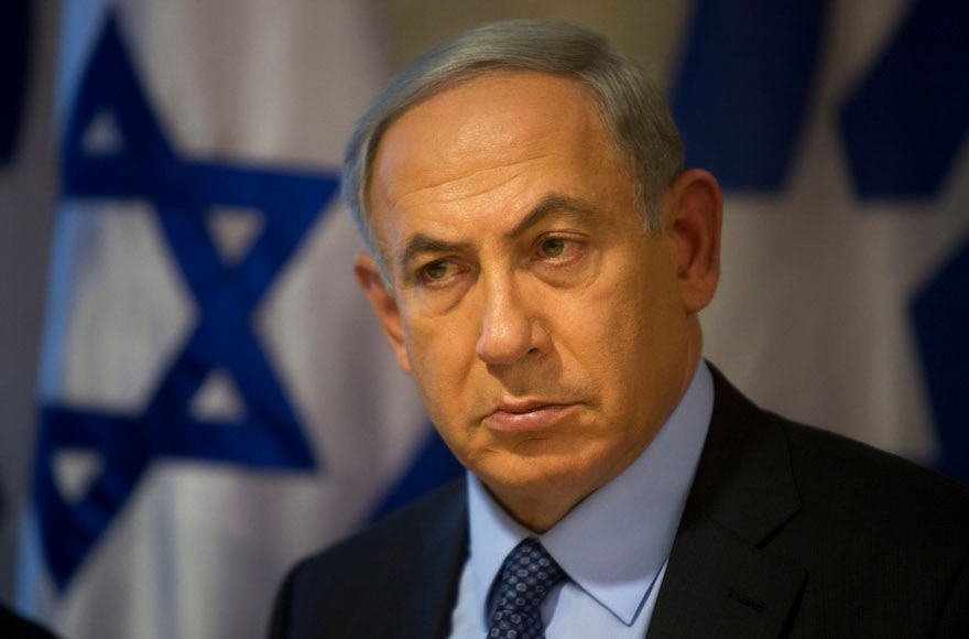 Prime Minister Benjamin Netanyahu looking on during a press conference at the Foreign Ministry in Jerusalem, Oct. 15, 2015. (Sebastian Scheiner/AP Images)