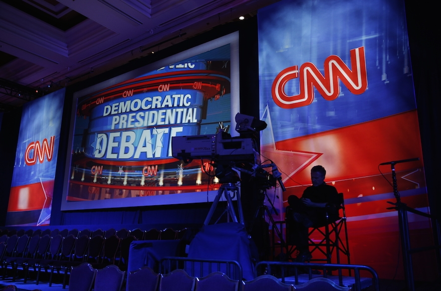 A camera operator waiting in the debate hall before a CNN Democratic presidential debate in Las Vegas, Oct. 13, 2015. (John Locher/AP Images)
