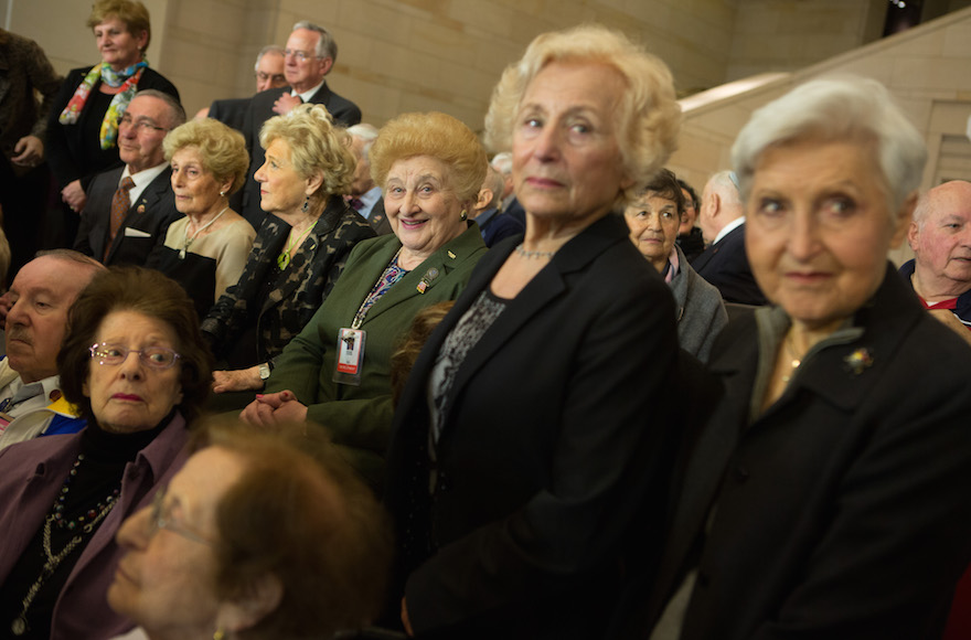 Holocaust survivors attending an event honoring the victims of Nazi persecution at the U.S. Capitol building in Washington, D.C., April 30, 2014.