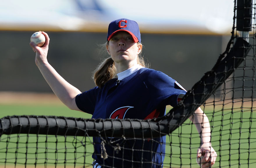 Justine Siegal, prior to coaching for the Oakland Athletics, had already made baseball history by throwing batting practice for the Cleveland Indians in 2011. (Norm Hall/Getty Images)