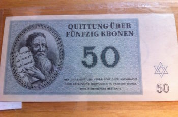 A 50-krone banknote from the Theresienstadt concentration camp that is part of the Strassler Center's collection of Holocaust money. (Courtesy of Clark University)