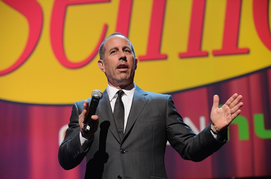 Jerry Seinfeld speaking onstage at the 2015 Hulu Upfront Presentation at Hammerstein Ballroom in New York City, April 29, 2015. (Craig Barritt/Getty Images)