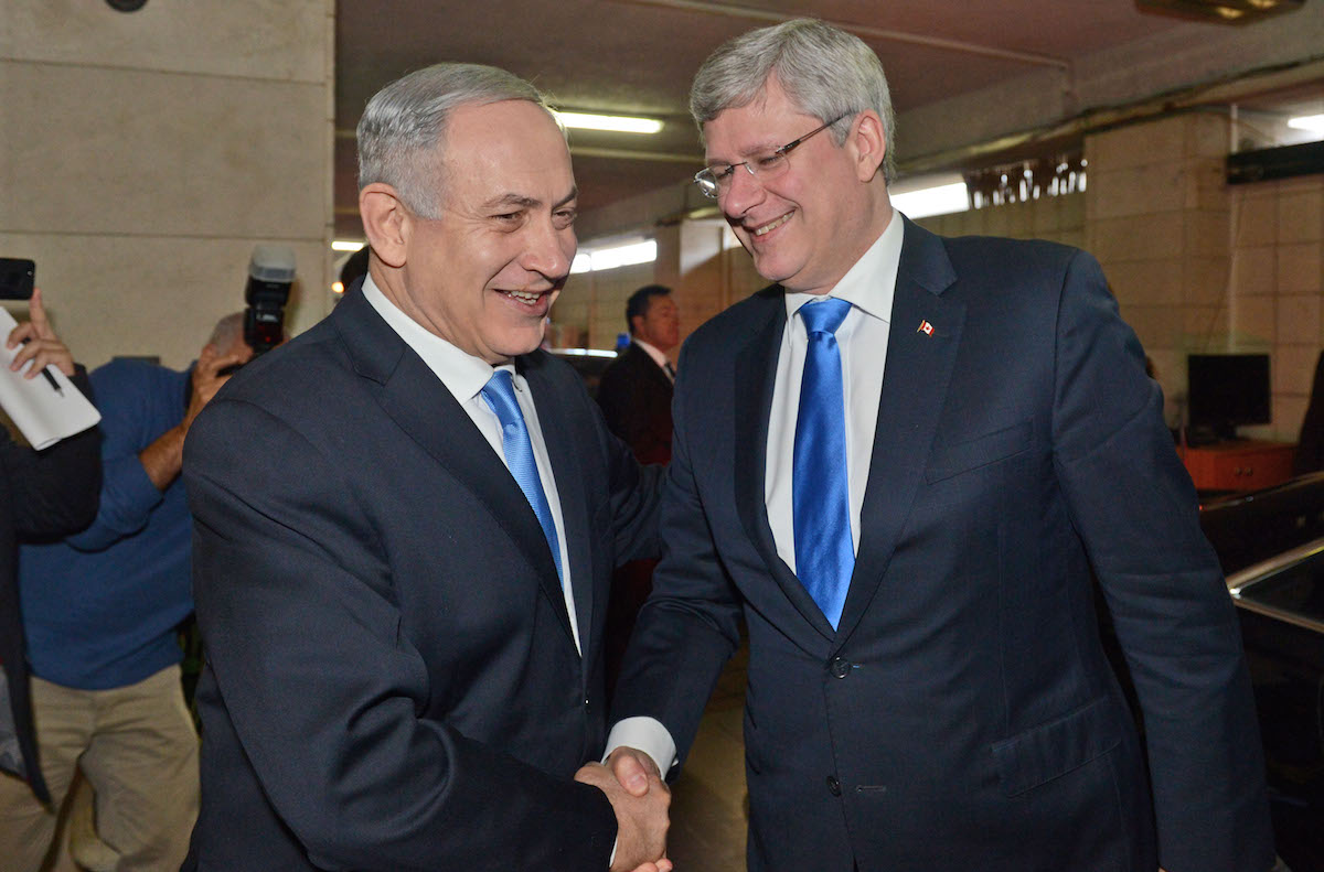 Israeli Prime Minister Benjamin Netanyahu and Canadian Prime Minister Stephen Harper in Jerusalem, Jan. 21, 2014. (Haim Zach/GPO/Flash 90).