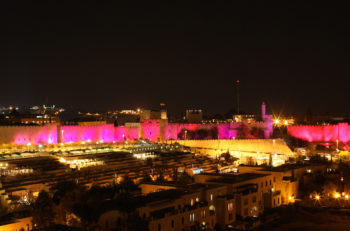 Pink lights promote breast cancer awareness in Jerusalem's Old City on Oct. 25, 2010. (Kobi Gideon / Flash90)