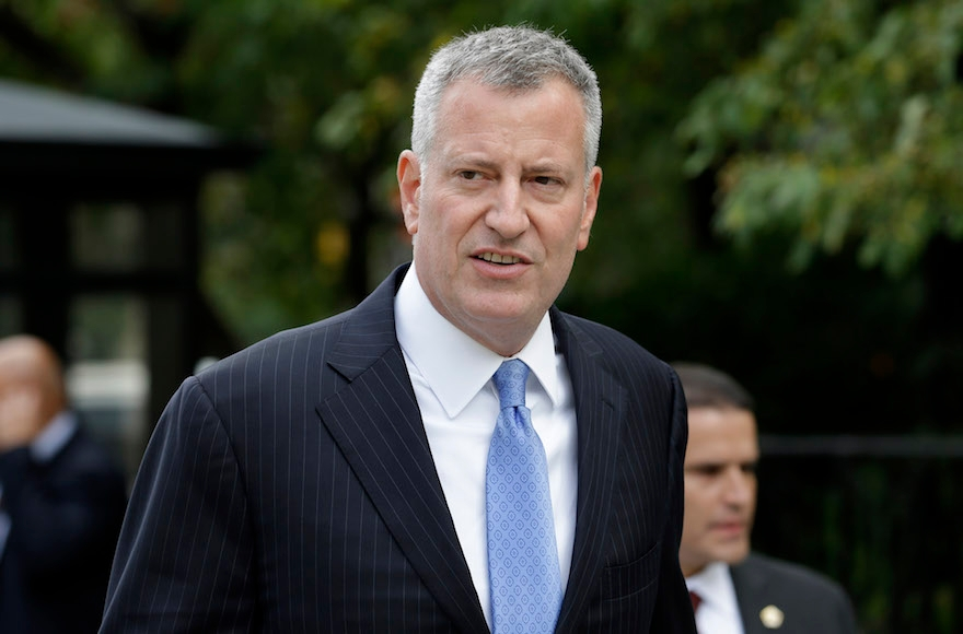 New York City Mayor Bill de Blasio at City Hall in New York, Sept. 21, 2015. (Seth Wenig/AP Images)