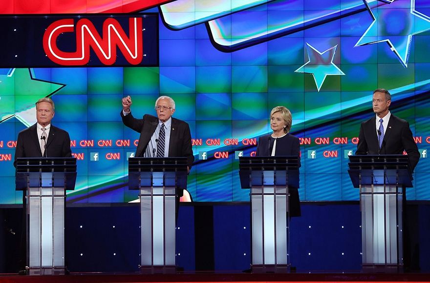 Democratic presidential candidates Jim Webb, Sen. Bernie Sanders (I-VT), Hillary Clinton and Martin O'Malley take part in presidential debate sponsored by CNN and Facebook at Wynn Las Vegas on October 13, 2015 in Las Vegas, Nevada. (Joe Raedle/Getty Images)