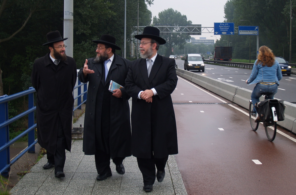 Dutch rabbis in the Amsterdam suburb of Buitenveldert, site of a planned center to house migrants from the Middle East. (David Serphos)