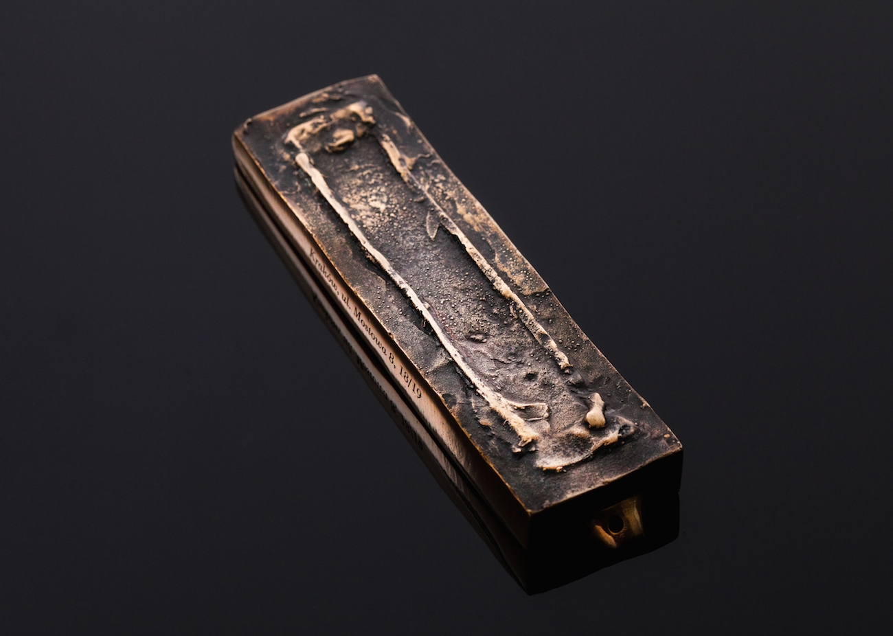 One of the bronze mezuzahs made by Mi Polin from a trace of an old Polish mezuzah. (Mi Polin)