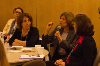 Shifra Bronznick, center, the founder of Advancing Women Professionals and the Jewish Community, has been at the forefront of the paid leave moment among Jewish organizations. (Nomi Ellenson)