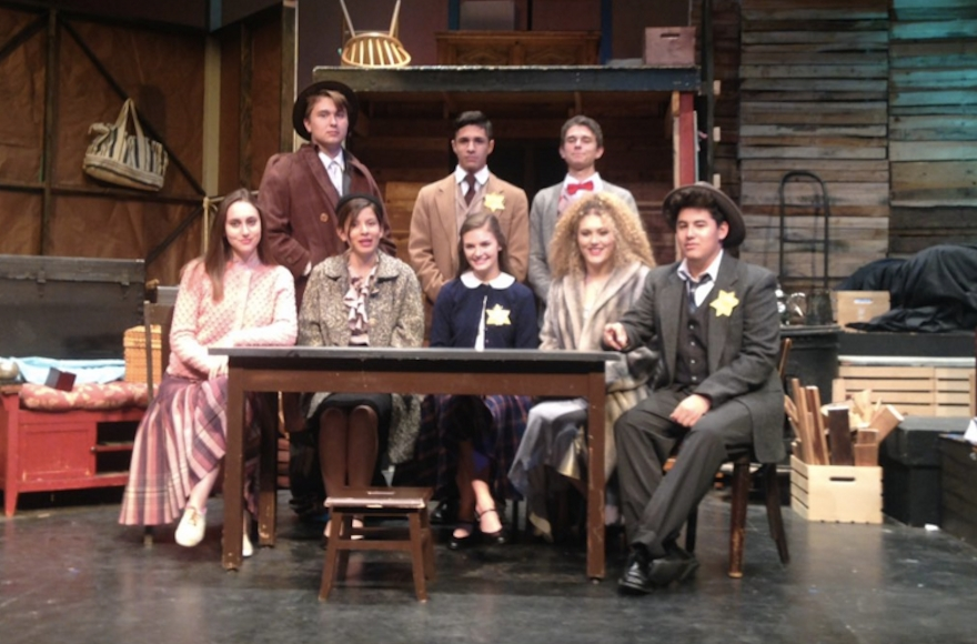 "A scene from Palm Desert High School's production of ""The Dairy of Anne Frank."" (Screenshot from Twitter)"