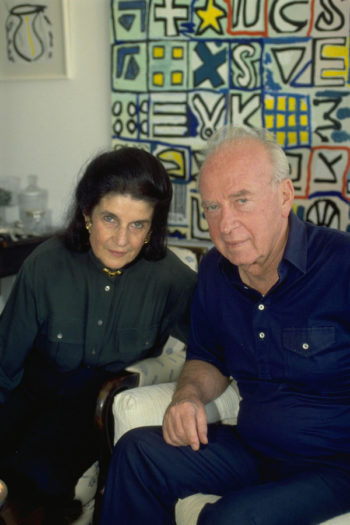 Leah and Prime Minister Yitzhak Rabin in 1992. (Israel Government Press Office)