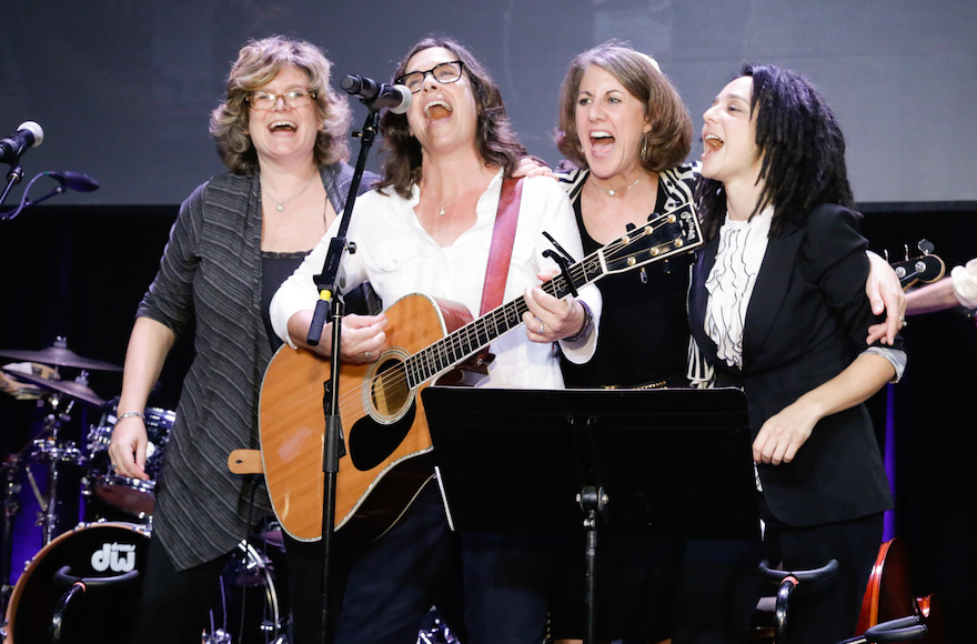 "Left to right, Beth Schafer, Julie Silver, Peri Smilow and Michelle Citrin singing ""If I Had a Hammer"" at the Union for Reform Judaism biennial conference in Orlando, Fla., Nov. 6, 2015."