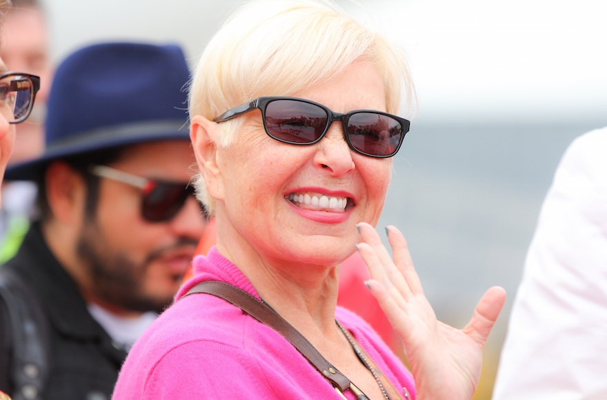 Roseanne Barr arriving on the Life Ball plane in Vienna, Austria, May 15, 2015. (Monika Fellner/Getty Images)