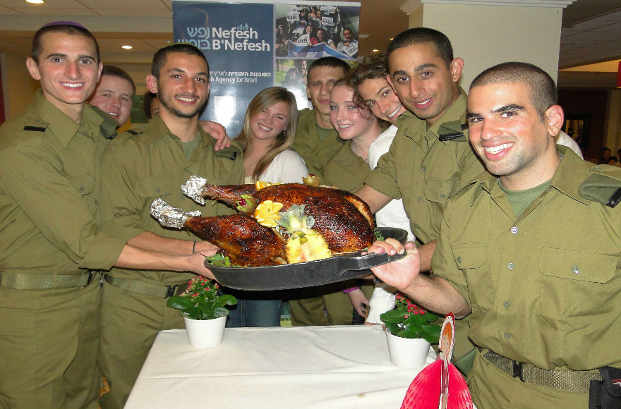 Lone soldiers and new immigrants from North America celebrate Thanksgiving. (Courtesy photo/NBN/Yonit Schiller)