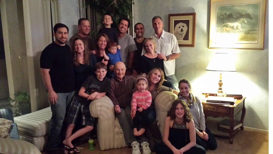 Norm Sherry, seated, surrounded by his children, grandchildren and great- grandchildren, January 2014. (Courtesy Cyndi Sherry Fedele)