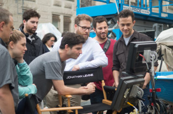 "Jonathan Levine (center, in grey t-shirt) on set during the filming of ""The Night Before."" (Courtesy of Columbia Pictures)"