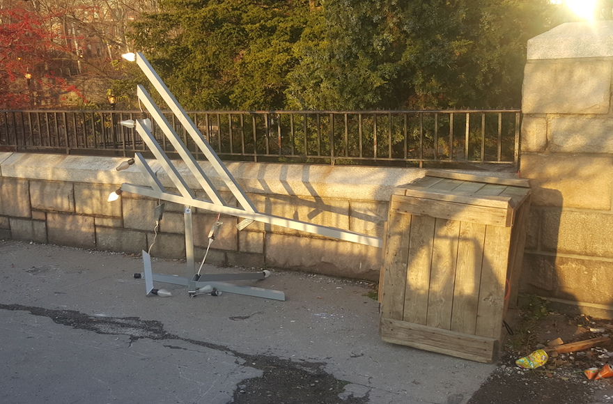 The menorah was found vandalized on Dec. 7, 2015.(Chabad.org)