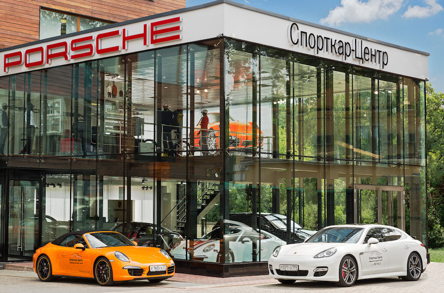 A Porsche car dealership in Zhukovka. (Courtesy of The Federation of Jewish Communities of Russia)