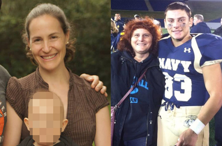 Rachel Jacobs, left, with her 2-year-old son, and Justin Zemser with his mother, Susan. (Facebook)