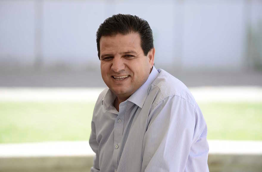 Leader of the Arab Joint List Ayman Odeh at a rally marking the Nakba anniversary at Tel Aviv University, May 20, 2015. (Tomer Neuberg/Flash90)