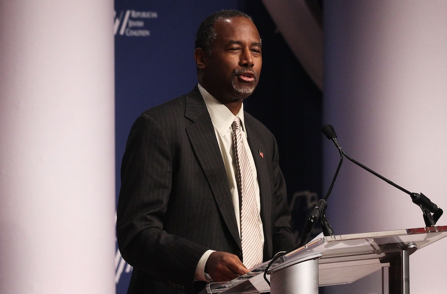 Ben Carson addressing the Republican Jewish Coalition at the Ronald Reagan Building and International Trade Center in Washington, D.C., Dec. 3, 2015. (Alex Wong/Getty Images)