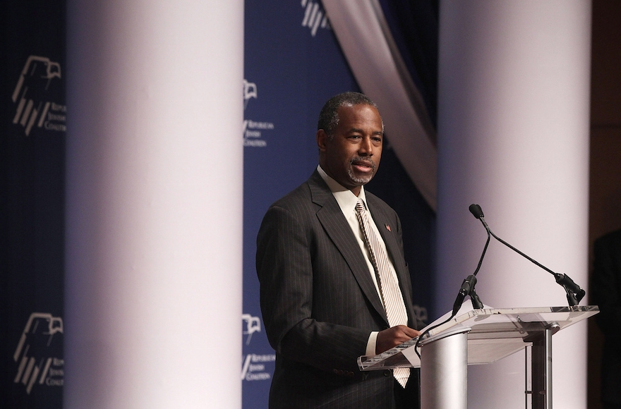 Ben Carson addressing the Republican Jewish Coalition at the Ronald Reagan Building and International Trade Center in Washington, DC, Dec. 3, 2015. (Alex Wong/Getty Images)