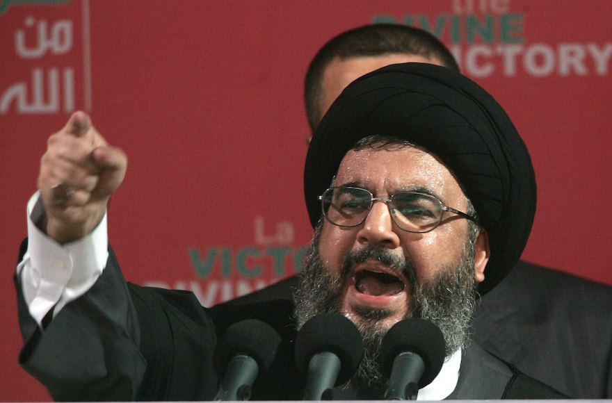 Hezbollah leader Sayyed Hassan Nasrallah speaking at a rally in Beirut, Lebanon, Sept. 22, 2006. (Salah Malkawi/Getty Images)