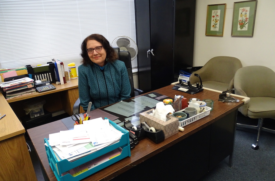 Ellen Gerecht, executive director of the National Center to Encourage Judaism, sitting in her office in Silver Spring, Maryland, Dec. 29, 2015. (Suzanne Pollak/Washington Jewish Week)