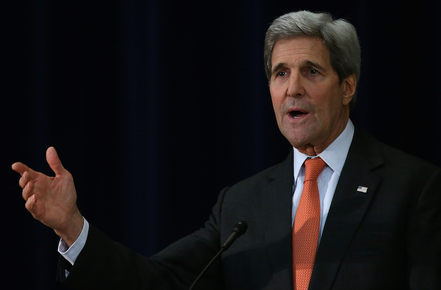 U.S. Secretary of State John Kerry speaking about the Paris terror attacks at the State Department in Washington, D.C., Nov. 18, 2015. (Mark Wilson/Getty Images)